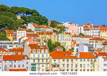 Lisbon houses city architectural panoramic view, Portugal