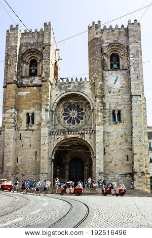 Lisbon, Portugal - May 30, 2017: Cathedral church Se (Santa Maria Maior de Lisboa), Portugal