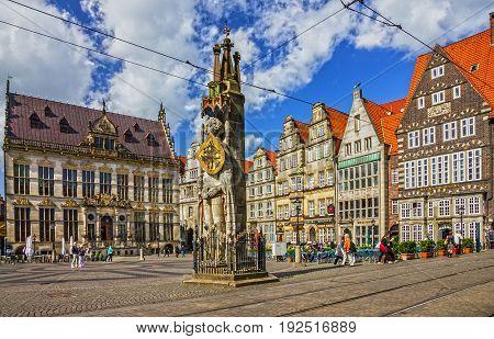 Bremen, Germany- June 23, 2017: Market square - Knight Roland statue on Marktplatz.