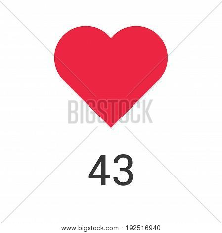 Like counter icon. Heart symbol isolated on white background