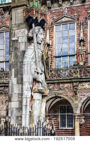 Bremen. Knight Roland statue on Marktplatz. Town hall Germany. Market square