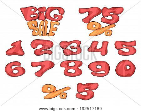 Set of bright discount figures in the store big sale
