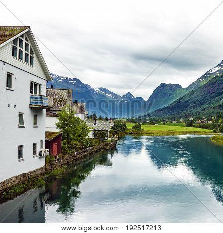 Norway - rural mountain landscape, village Olden