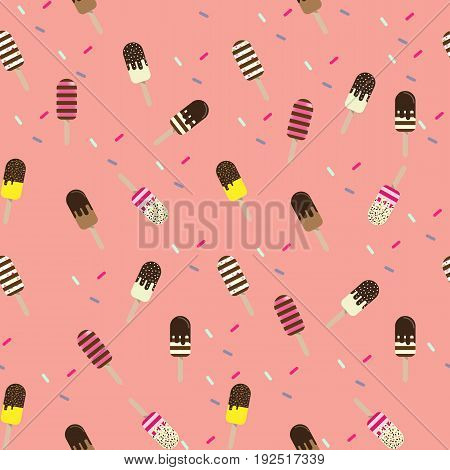 Colorful popsicle ice cream seamless pattern.  Design for  wrapping, fabric, background, apparel, prints, banners.