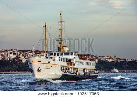 Istanbul, Turkey - May 7, 2017: Boat in Bosporus, Istanbul, Turkey