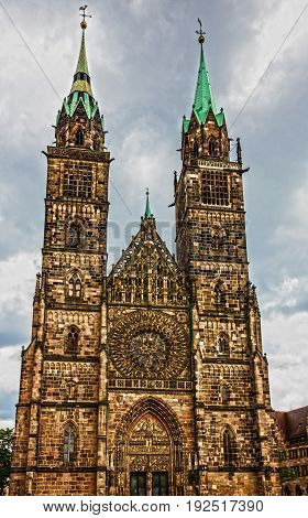 Nuremberg Cathedral, Germany. St. Lawrence church building .