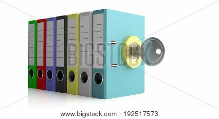 Office Folders And Key Lock Isolated On White Background. 3D Illustration