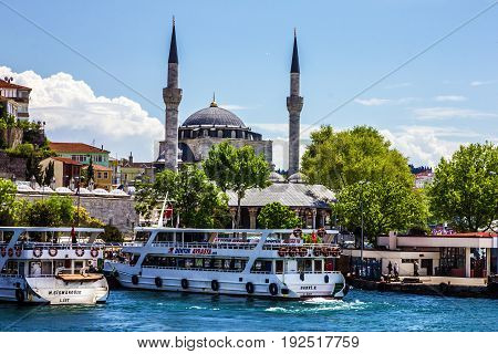 Istanbul, Turkey - May 7, 2017: Panorama of Istanbul seafront, Turkey.