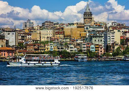 Istanbul, Turkey - May 3, 2017: Galata tower in Istanbul, Turkey