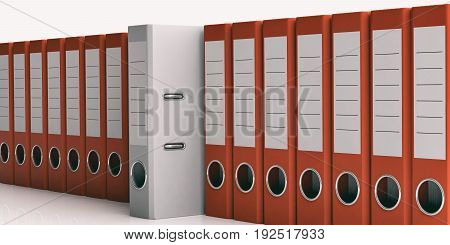 Office Folders Row On White Background. 3D Illustration