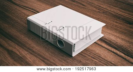 Office Folder Isolated On Wooden Background. 3D Illustration
