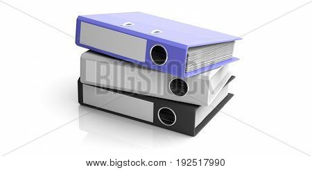 Office Folders Isolated On White Background. 3D Illustration