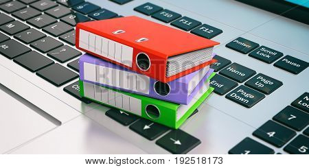 Office Folders On A Laptop. 3D Illustration