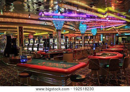 Cruise liner Voyager - May 6, 2017: Gaming slot machines in American gambling casino on Cruise liner Voyager