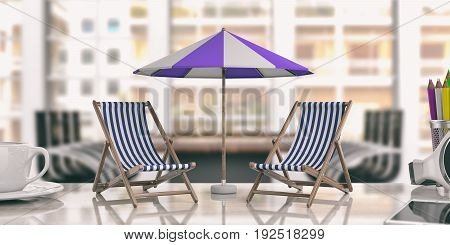 Deck Chairs And Umbrella On An Office Desk. 3D Illustration