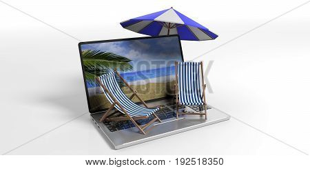 Beach Chairs And Umbrella On A Laptop -  White Background. 3D Illustration