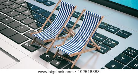 Deck Chairs On A Laptop. 3D Illustration