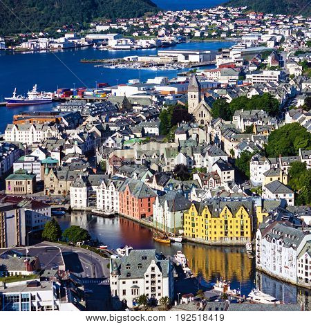 Alesund, Norway - panoramic view on center of cruise port in Norwegian fjords.