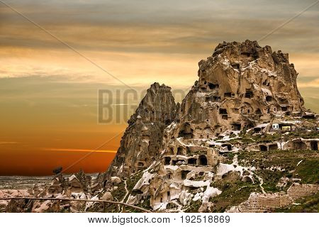 Cappadocia, Turkey, Goreme park sunset mountain view