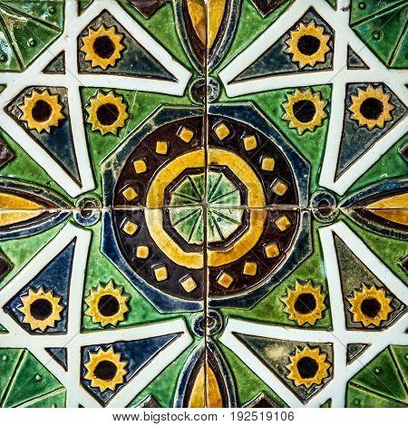 Ceramics tile background, tezture in Lisbon, Portugal.
