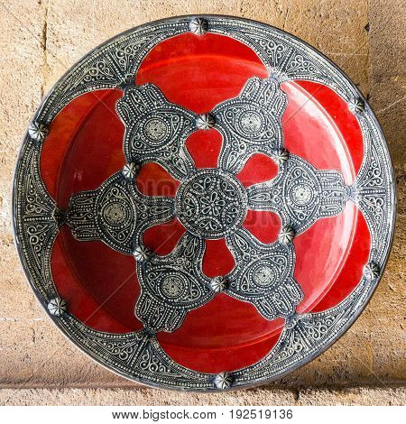 Moroccan palte traditional ornamental souvenir shop, Morocco