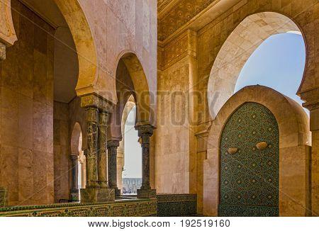 Casablanca mosque inside building architecture in Morocco