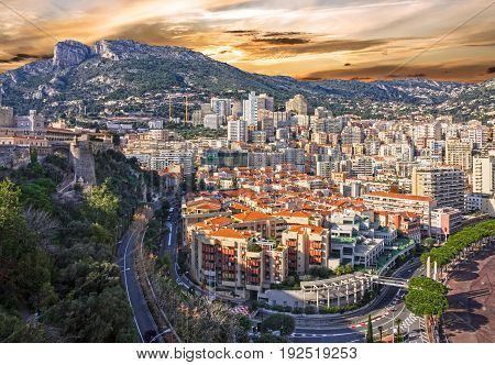 Monaco and Monte Carlo principality sunset view