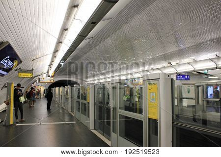 PARIS, FRANCE - JUNE 5, 2017: George V underground metropolitain station platform interior in downtown Paris, France. Paris metro is a second busiest subway system in Europe, serving the city and suburbs.