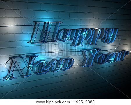 Welcome to the new year. The inscription on the wall of garlands. Happy new year. 3D.