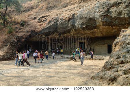 Mumbai, India - January 1, 2012: Unesco. Hindu Temple Elephanta Island caves near Mumbai Bombay Maharashtra state India