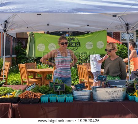 Belmar NJ USA -- June 24 2017 Two women working a produce stand at a Farmers Market. Editorial Use Only.