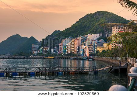 Cat Ba, Vietnam - May 25, 2017: Cat Ba Island Cityscape View With Home Buildings And Hotels By The S