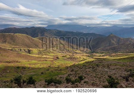 Panoramic View Of Colorful Valley In Morocco The High Atlas Mountain Range, Africa