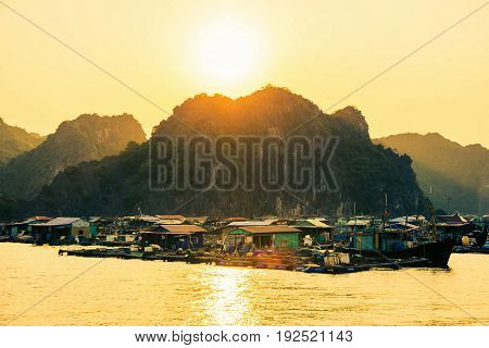 Cat Ba, Vietnam - May 27, 2017: Fisherman Village Of Houses On Water And Boats Near Cat Ba At Sunset