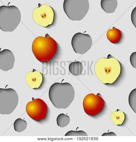 Seamless Pattern with paper cut apples, half of apples and some gold apples on the Grey Background.