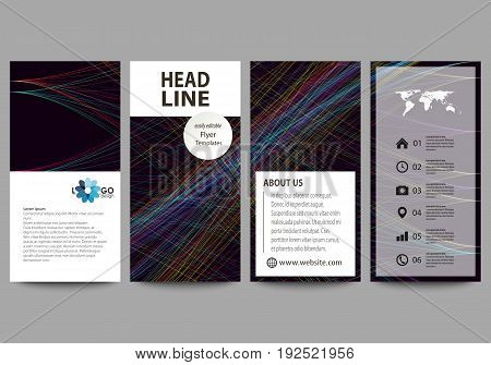 Flyers set, modern banners. Business templates. Cover template, easy editable, flat style layouts, vector illustration. Abstract waves, lines and curves. Dark color background. Motion design