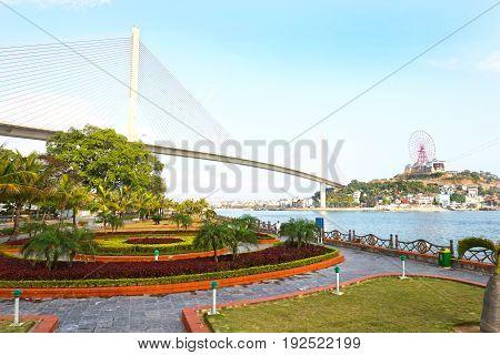 Ha Long Bay City landscapes, on a blue sky day, Vietnam. Asia