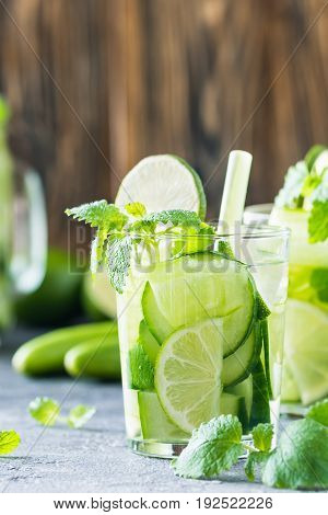 Refreshing Drink With Cucumber, Lime, Mint