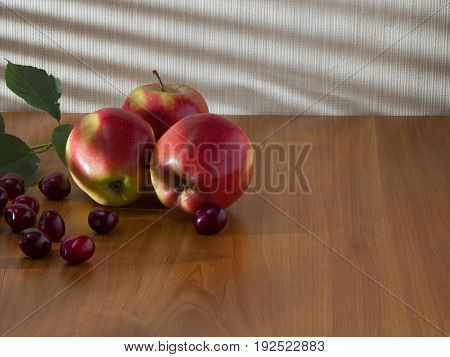 Red sweet apples and cherries are lying on the table under the rays of the morning sun.