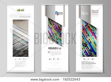 Set of roll up banner stands, flat design templates, abstract geometric style, modern business concept, corporate vertical vector flyers, flag layouts. Colorful background made of stripes. Abstract tubes and dots. Glowing multicolored texture.
