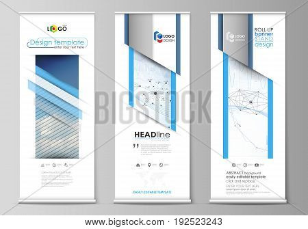 Set of roll up banner stands, flat design templates, abstract geometric style, modern business concept, corporate vertical vector flyers, flag layouts. Blue color abstract infographic background in minimalist style made from lines, symbols, charts, diagra