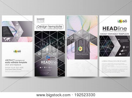 Flyers set, modern banners. Business templates. Cover design template, easy editable abstract vector layouts. Colorful abstract infographic background in minimalist style made from lines, symbols, charts, diagrams and other elements.