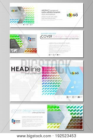 Social media and email headers set, modern banners. Business templates. Easy editable abstract design template, vector layouts in popular sizes. Colorful rectangles, moving dynamic shapes forming abstract polygonal style background.