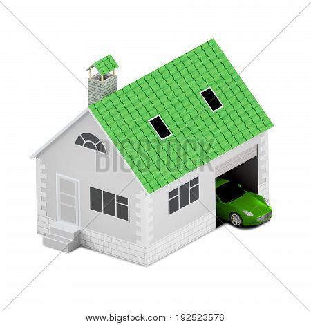 Insurance home house life car protection. Buying house and car for family icon. Protect people Concepts. 3D illustration. Icon for the web site of the bank. Red car.
