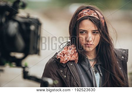 Behind The Scene. Actress In Front Of The Camera