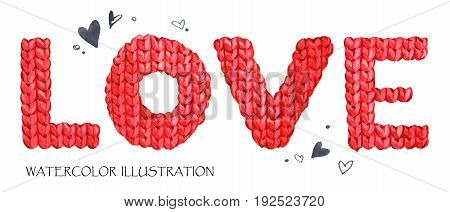 Word Love. Romantic lettering. Hand drawn text background with love word. Valentines day card. Watercolor lovely knitting texture. Ready for print, poster, fashion design, greeting card.