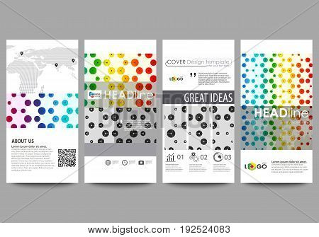 Flyers set, modern banners. Business templates. Cover design template, easy editable abstract vector layouts. Chemistry pattern, hexagonal design molecule structure, scientific, medical DNA research. Geometric colorful background.