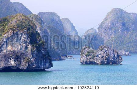 Halong Bay Landscapes, on a misty smoggy day, Vietnam, Southeast Asia