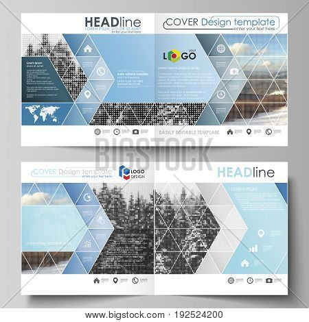 Business templates for square design bi fold brochure, magazine, flyer, booklet or annual report. Leaflet cover, abstract flat layout, easy editable vector. Abstract landscape of nature. Dark color pattern in vintage style, mosaic texture.