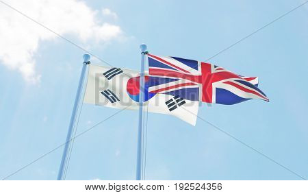 Republic of Korea and Great Britain, two flags waving against blue sky. 3d image